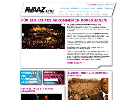 Bildschirmfoto: Website